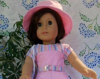 "Pink Dress with Stripe Accents, Belt, Bag and Hat for 18"" and American Girl Dolls"