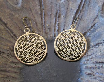 Bronze flower of life earrings geometry sacred flower of life sacred geometry Christmas Christmas