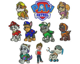 Paw Patrol digital embroidery download 10 designs machine embroidery instant download