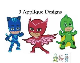 Applique Design PJ Masks - 3 Designs - instant download