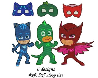 Pj Mask Embroidery Etsy