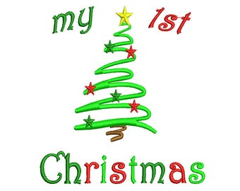 Christmas Embroidery Design - My 1st Christmas Instant Download 4,5,6,7 inch size