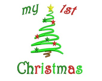 My First Christmas Embroidery Design - My 1st Christmas Instant Download 4,5,6,7 inch size