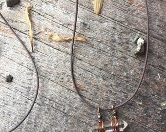 Simple Smokey Quartz + Pyrite Necklace