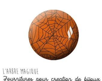 2 cabochons craft Halloween Spider Web glass 20 mm M1142