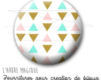 2 cabochons craft geometric Blue Gold pink triangle 1545 ref - 16 mm-