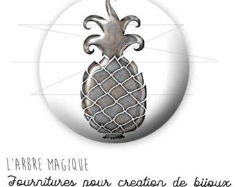 Cabochon fancy 25 mm pineapple tropical fruit silver ref 1755