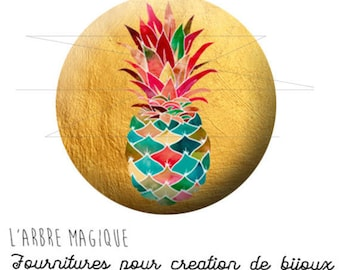 Cabochon 25 mm pineapple fruit fantasy exotic ref 1738