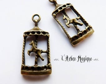 4 x bronze merry-go-round charms