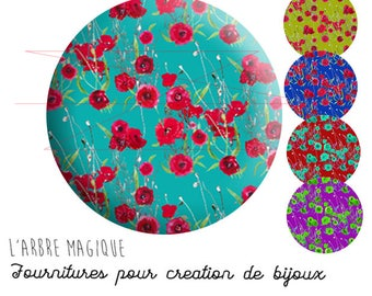 2 cabochons glue poppy red turquoise blue background, Fleur floral, floral pattern, color choice ref 1735 glass 20 mm.