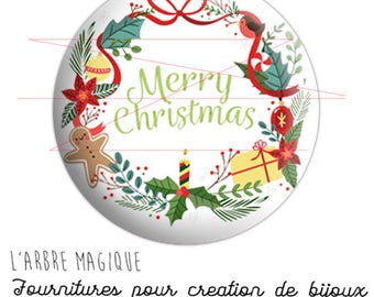 Cabochon stuck Merry Christmas, Merry Christmas, Christmas holidays ref 2075 glass or epoxy resin - 25 mm