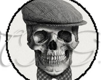 Fancy 25 mm black and white hat Ref260 skull cabochon