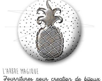 Cabochon fancy 25 mm pineapple tropical fruit silver ref 1754