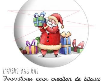 2 fancy cabochons 25 mm Santa and gifts, Christmas, Santa clauss 20/18/16/14/12 mm electives ref 2077