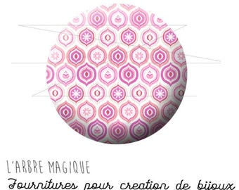 Cabochon 25 mm pastel pink geometric ref 1586 fancy