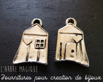 "1 ""My house"" 35x20mm silver fancy pendant"