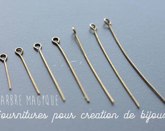Stalks eye/loop 10G bronze any size 2 to 5 cm, sold per 10 g
