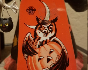 vintage halloween noisemaker winking owl us metal toy company