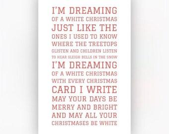 dreaming of a white christmas song lyrics print modern christmas home decoration christmas gift first christmas new home a4 - Im Dreaming Of A White Christmas Lyrics
