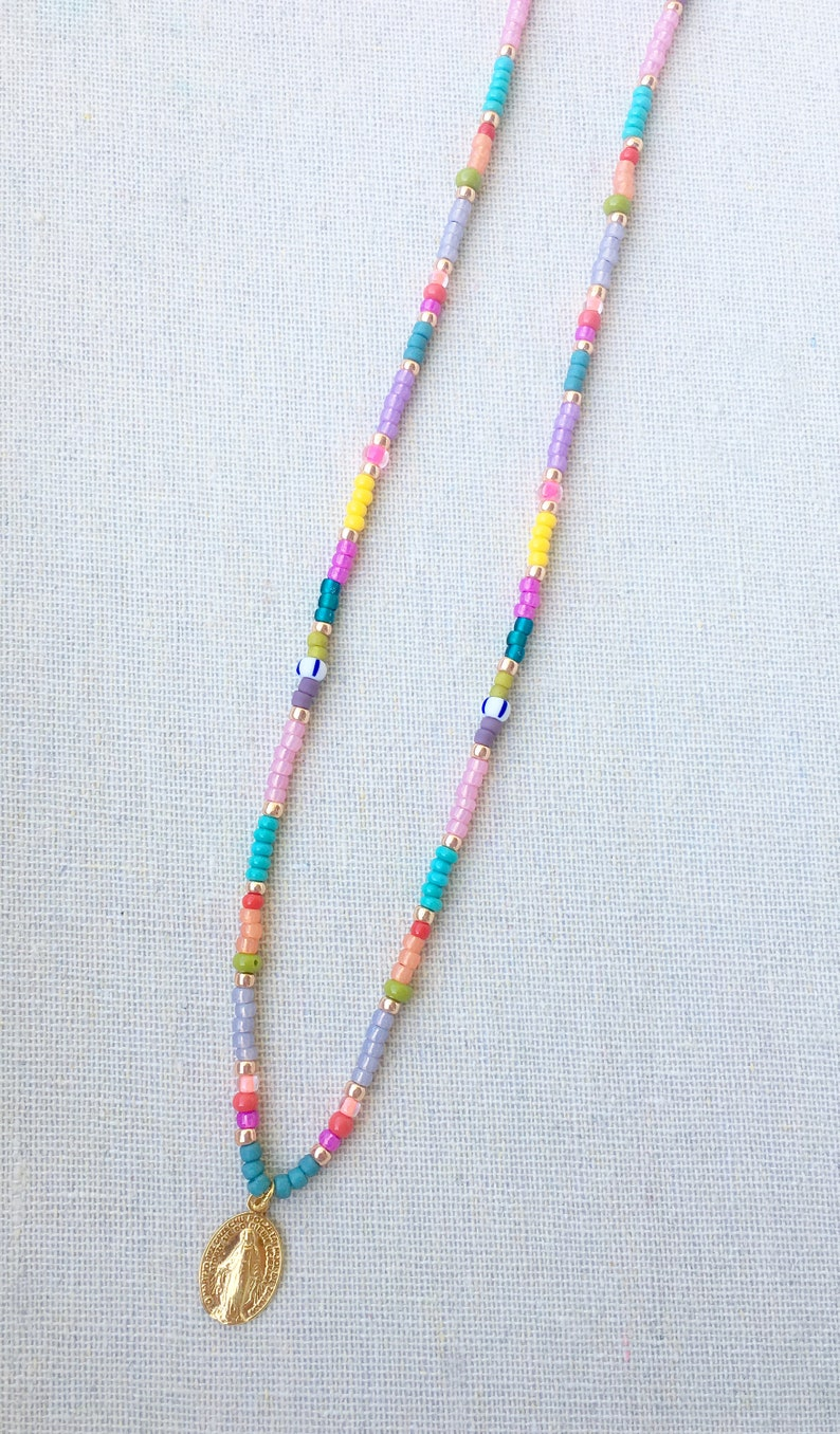 Necklace Gold plated Coin Amulet Maria Beads Colorful Pink image 0