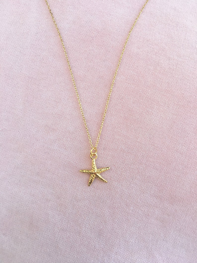Chain 925 silver plated starfish gold image 0