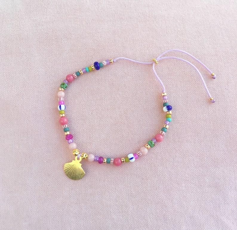 Bracelet shell gold colorful gemstones image 0