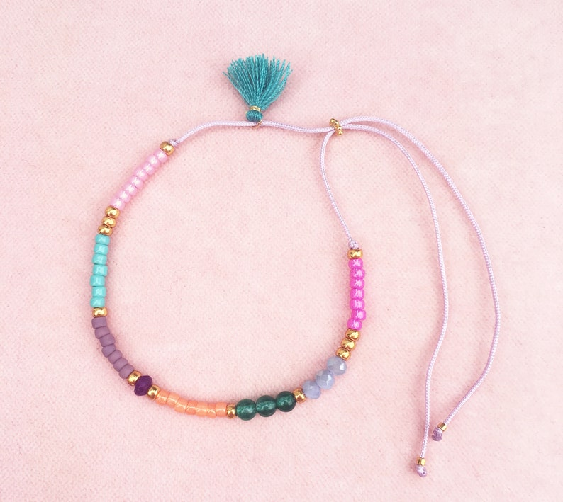 Colorful bracelet with tassel and gemstones image 0