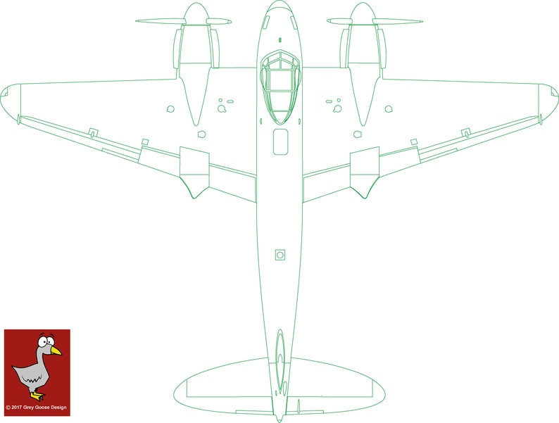 DeHavilland Mosquito Detailed Plan View Vector Image Aviation Mossie Laser  Cutter Router DXF, Cdr, Pdf, Png, Zip