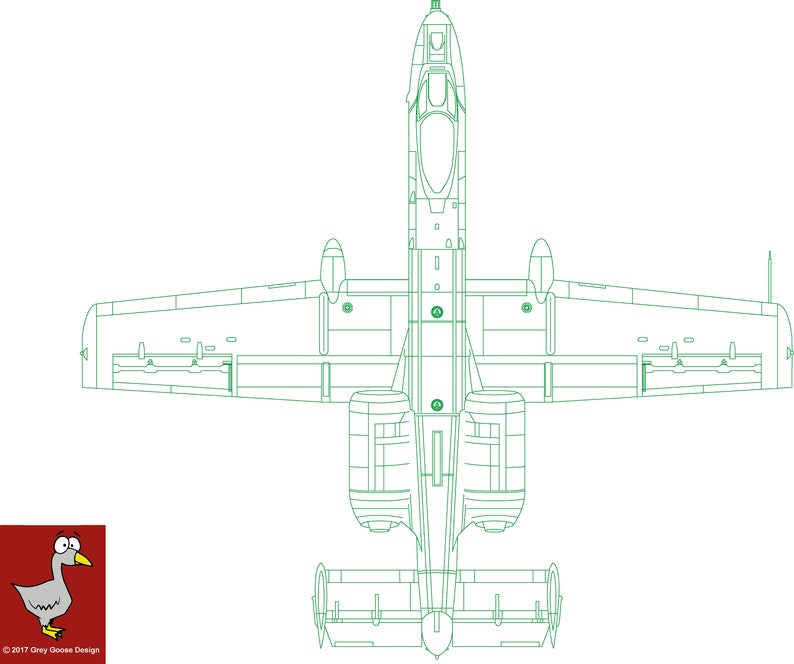 Zip Cdr Png A-10 Thunderbolt II Detailed Plan View Vector Image Military Aviation Warthog Tankbuster Laser Cutter Router DXF Pdf