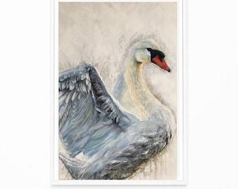 Blue Swan, original painting, animal art, white, wildlife, black, acrylic, oil, wall art,bird, british,