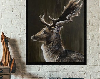 Deer on green limited edition Giclee print, signed,  art painting by PaulH, artwork, animal art, wallart, acrylic, wildlife,highland cow