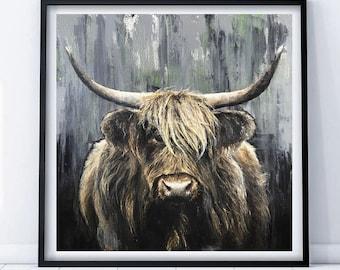 Highland cooo, limited edition Giclee print, original painting, highland cow,art by PaulH, artwork, animal art, wallart, acrylic,oil