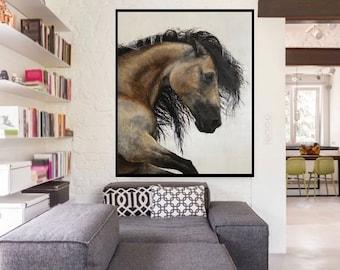 Stallion, Giclee fine art print,print, signed, art painting by PaulH, artwork, animal art, wallart, acrylic, wildlife,highland cow