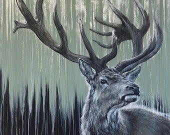 Green stag limited edition Giclee print, signed, original art painting by PaulH, artwork, animal art, wallart, acrylic, wildlife, deer