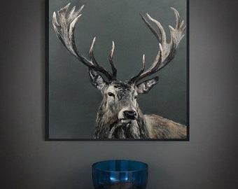 Grey Stag limited edition Giclee print, artist, signed, original art painting by PaulH, artwork, animal art, wallart, acrylic, wildlife