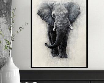 Blue Elephant limited edition Giclee print, signed, original art painting by PaulH, artwork, animal art, wallart, acrylic, wildlife