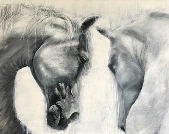 Eye to eye, grey horses limited edition Giclee print, artist, signed, original art painting by PaulH, artwork, animal art, wallart, acrylic