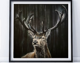Mighty stag limited edition Giclee print, signed, original art painting by PaulH, artwork, animal art, wallart, acrylic, wildlife, deer