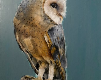 Green Barn Owl limited edition Giclee print, signed, original art painting by PaulH, artwork, animal art, wallart, acrylic, wildlife