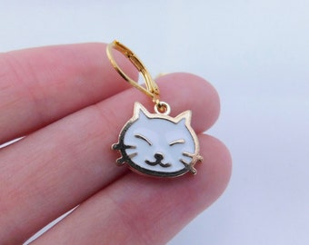 Happy cat removeable stitch markers - set of 8