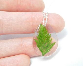 Preserved leaf teardrop resin necklace