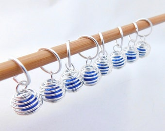 Caged bead stitch markers - set of 8