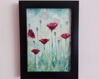 Wild Flowers II original watercolor painting with frame