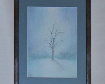 Winter Original Soft Pastel Painting With Frame