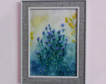 Wild Flowers original watercolor painting with frame