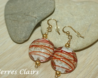 """White earrings - red wire - gold """"Fair"""""""