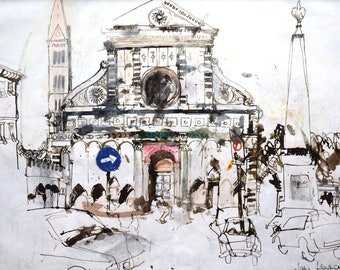 Pen and ink. Limited edition.  Prints of ink drawings depicting the city of Florence.