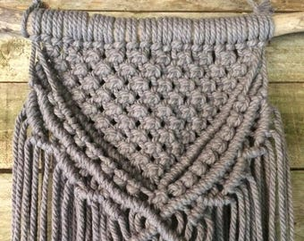 Macrame Wall hanging, Grey, on Driftwood, Bohemian, Wall art, Home decor, Rustic, Weave, Natural Cotton, Wood, Interior Decor, MADE TO ORDER