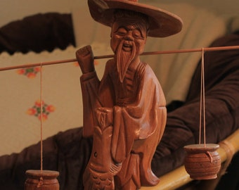Wooden Chinoiserie Fisherman with Pales   Vintage Asian Art Sculpture  Statue   Mid Century Modern Boho Decor Vintage 40220f5bbfd