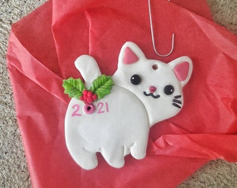 2021 Cat butt Christmas Ornament personalized naughty funny secret santa gift exchange ugly Ornament contest